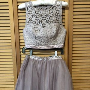Two piece lavender formal dress